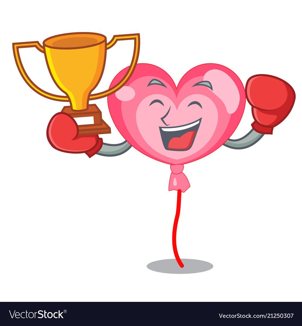 Boxing winner ballon heart mascot cartoon