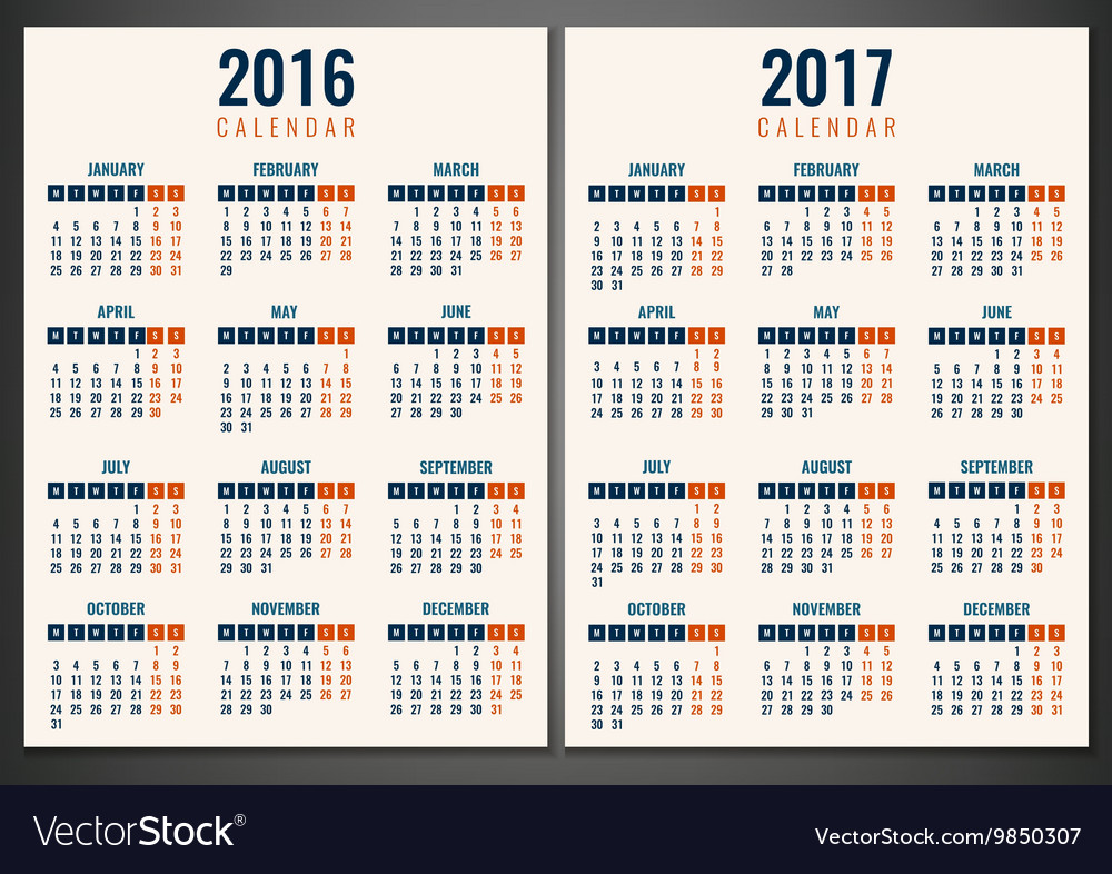 Calendar for 2016 and 2017 Week Starts Monday