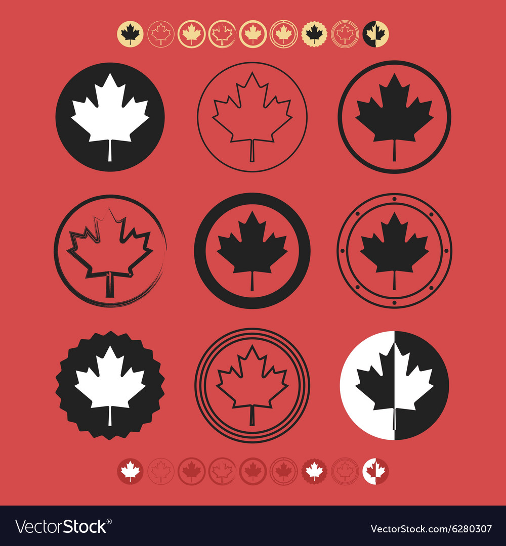 Canadian silhouette and line maple leaf icons set