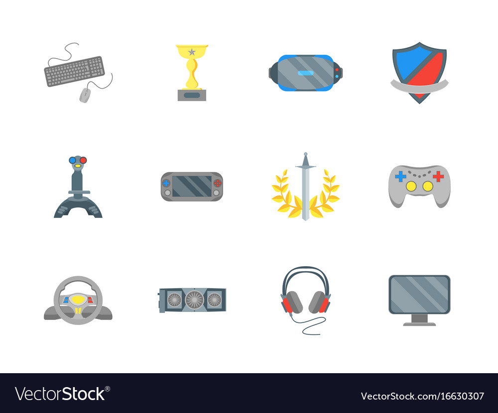 Cartoon cyber sport color icons set vector image