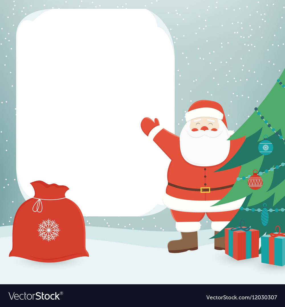 Christmas Card With Santa Claus Template With Vector Image