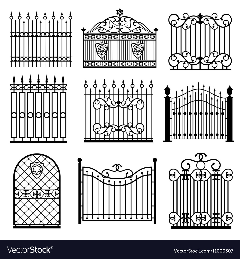 Decorative black silhouettes of fences with gates