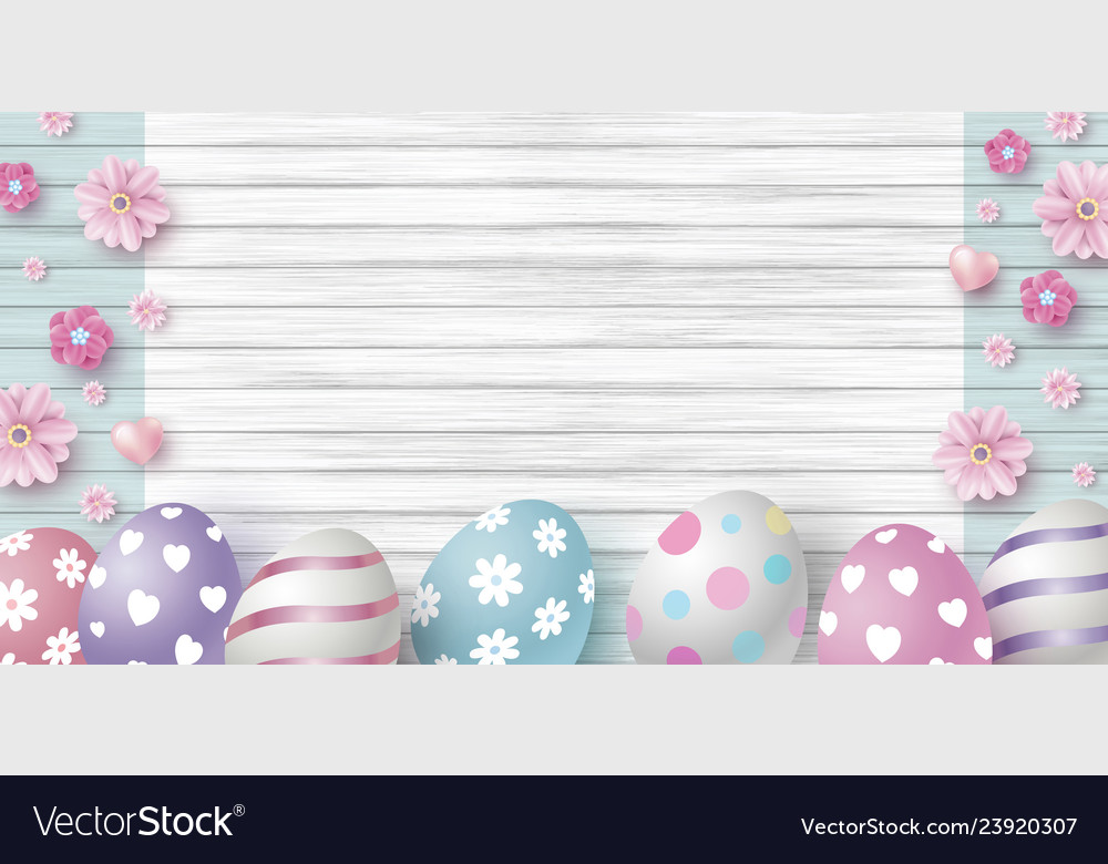 Easter day design eggs and flowers