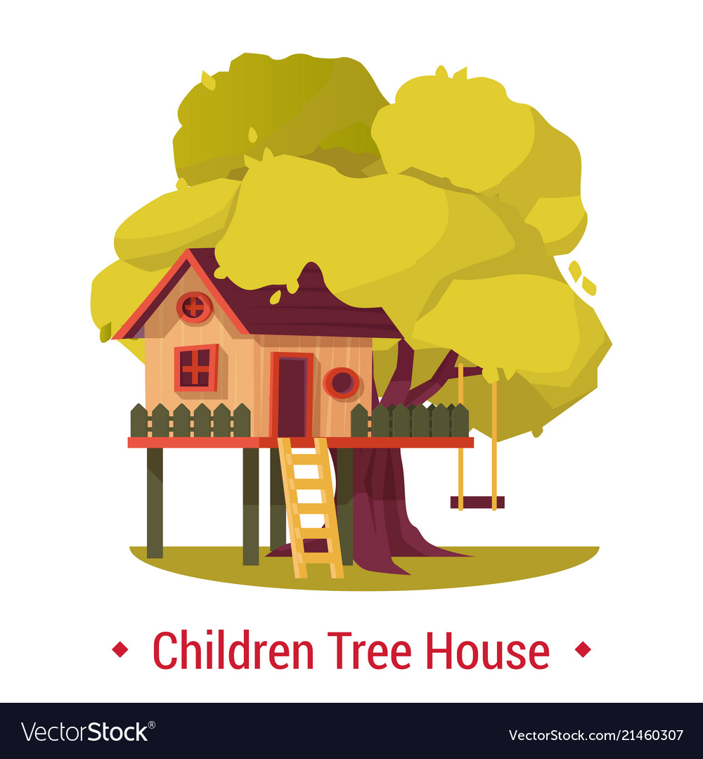 Kid house or home on tree with ladder and seesaw