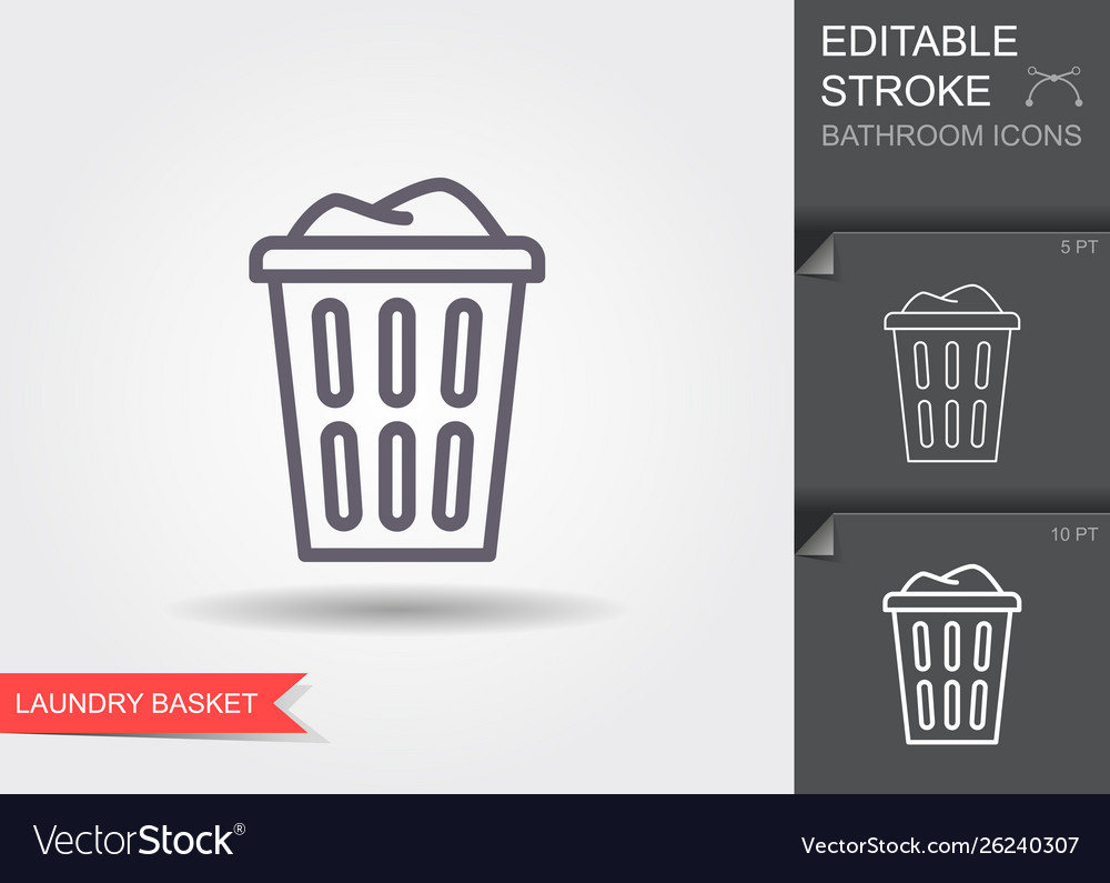 Laundry basket with dirty clothes outline icon