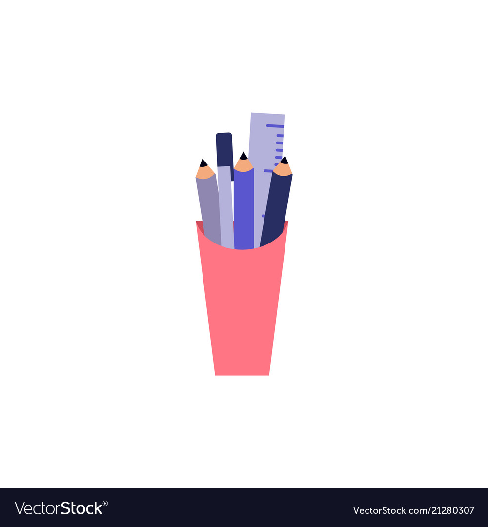 Plastic cup with stationery filling - pencil