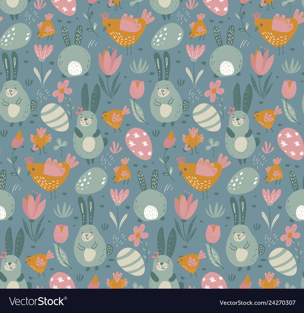Seamless pattern with rabbits chicken