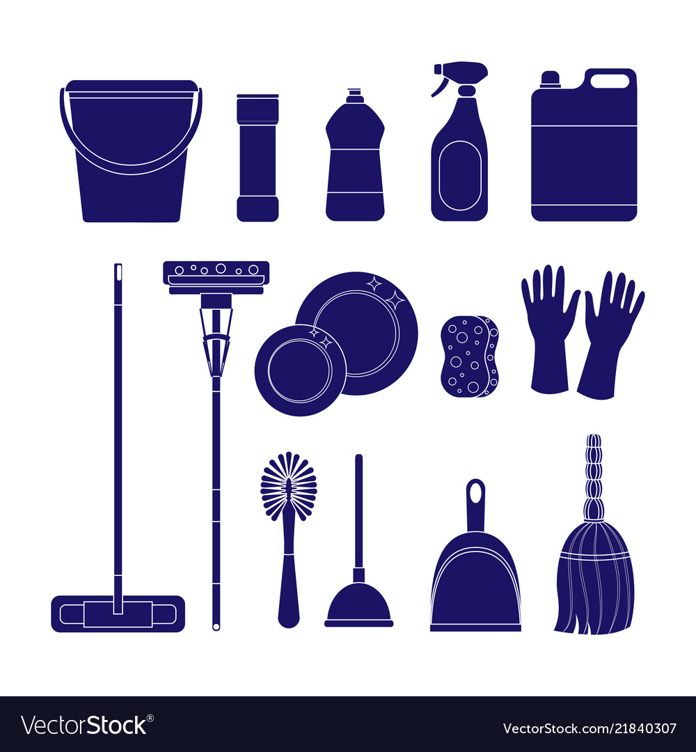 Set of cleaning icons isolat