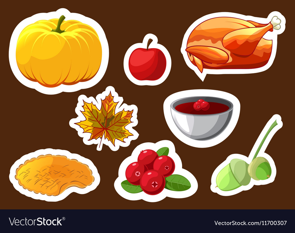 Set of stickers for Happy Thanksgiving Day Badge