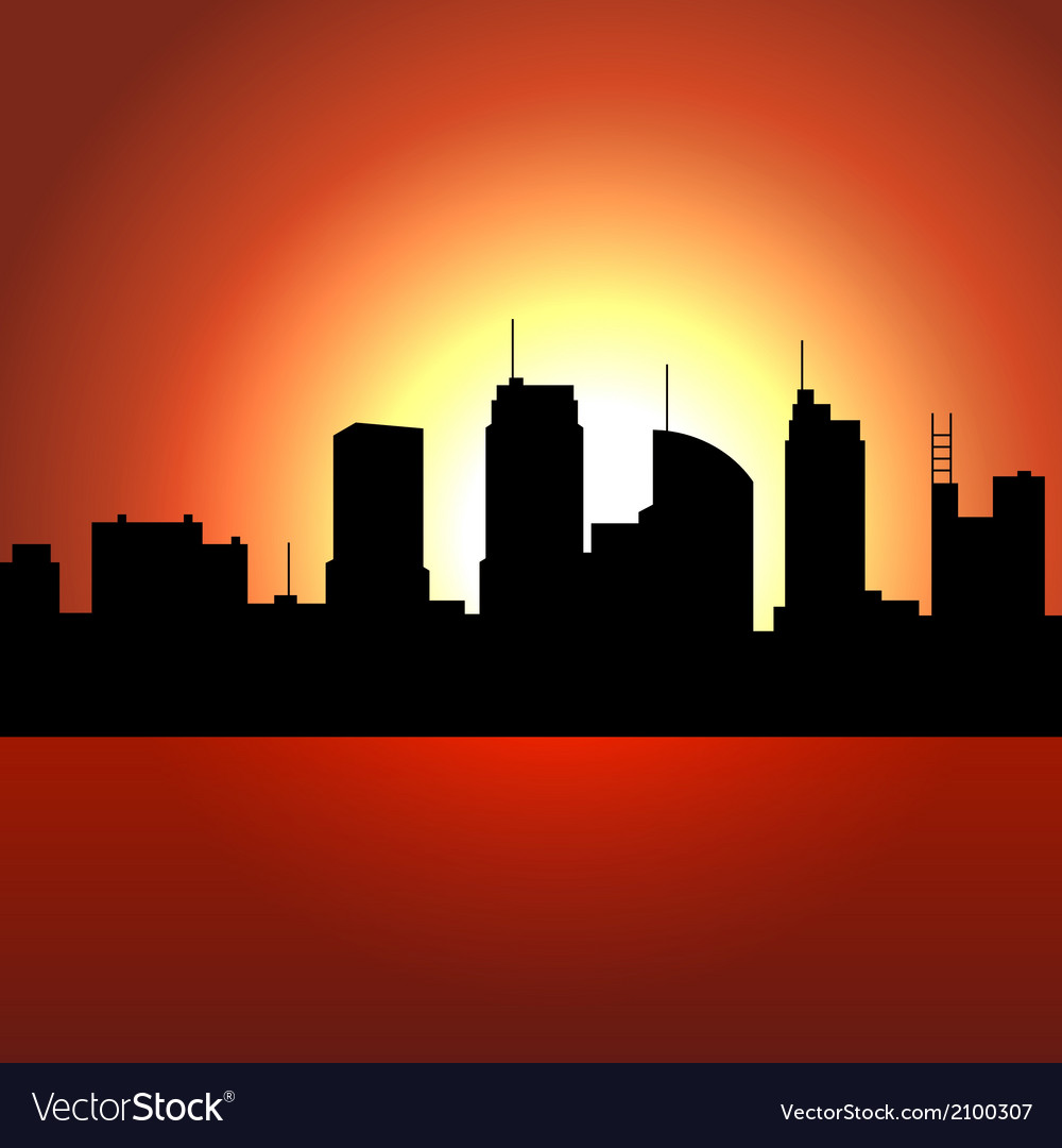 Sunset over City Skyscrappers Silhouette