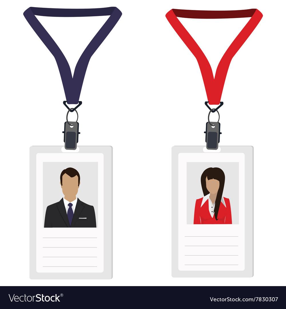 two employee badges royalty free vector image vectorstock