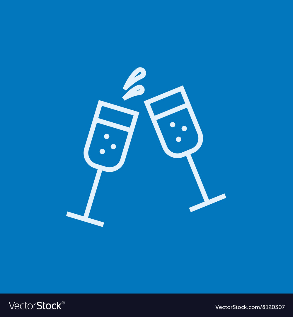 Two glasses of champaign line icon