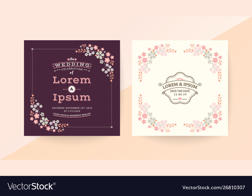 Wedding Invitation Card With Pink Floral Frame