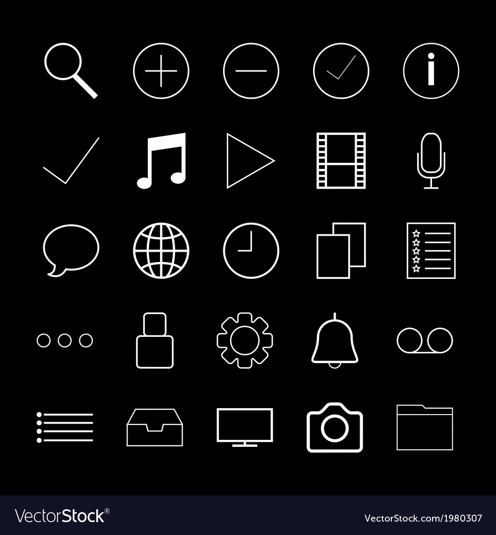 White Thin line icons for Web vector image