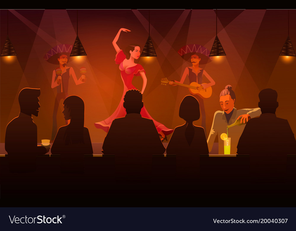 Woman dancing salsa in bar of vector image