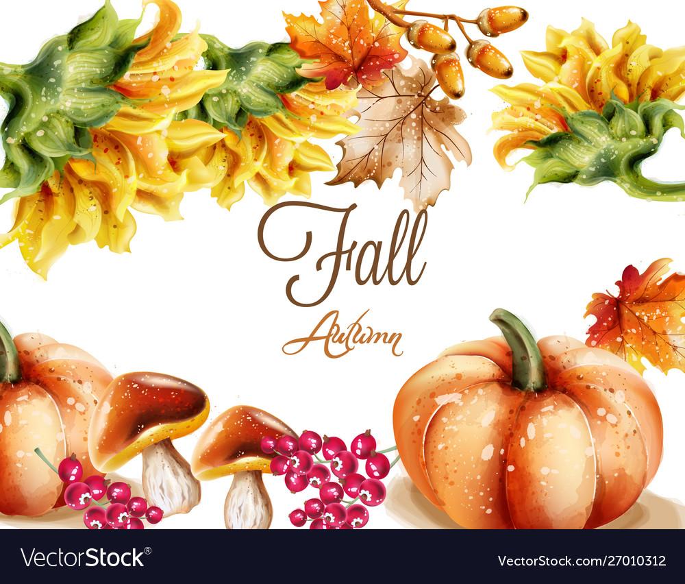Autumn fall card watercolor pumpkin sunflower and