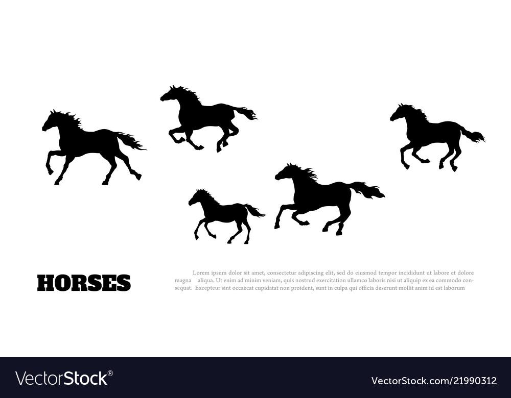 Black silhouette of running horses