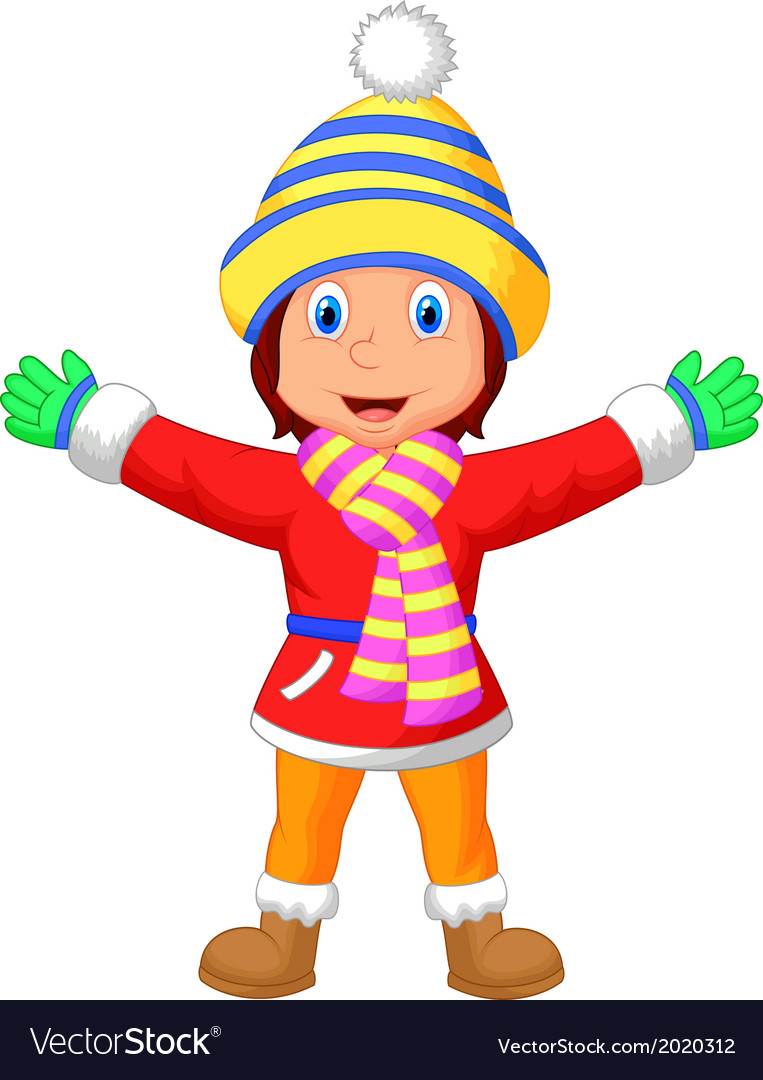 Cartoon a girl in Winter clothes waving hand Vector Image
