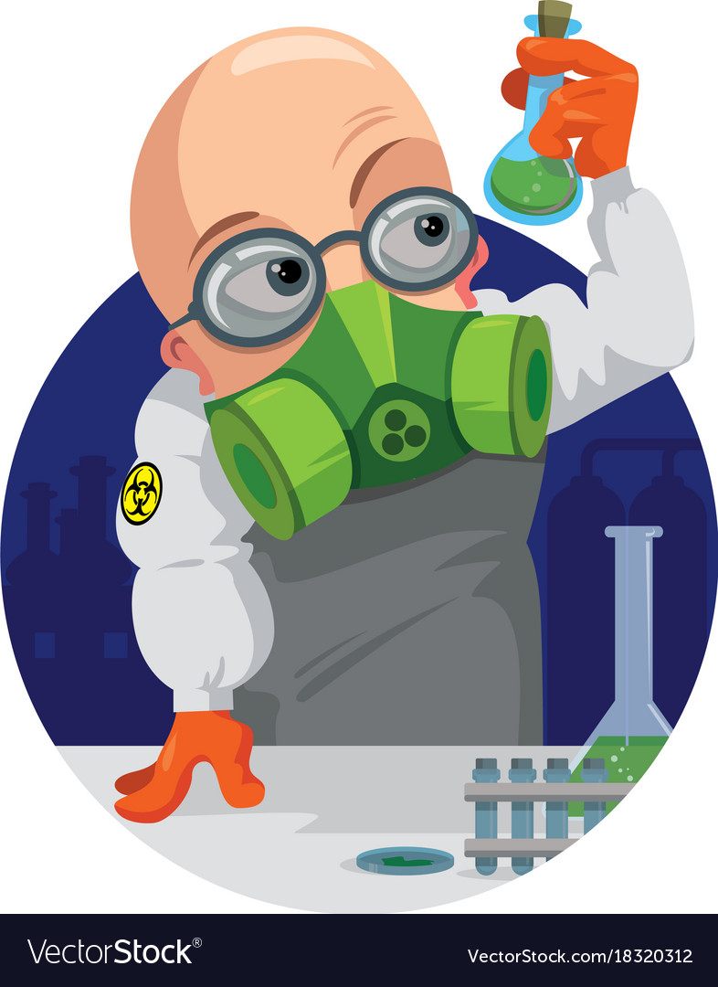 Cartoon professor chemist