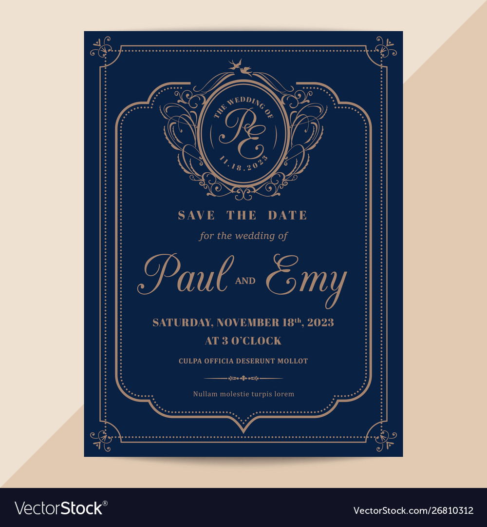 Classic Vintage Wedding Invitation Card With