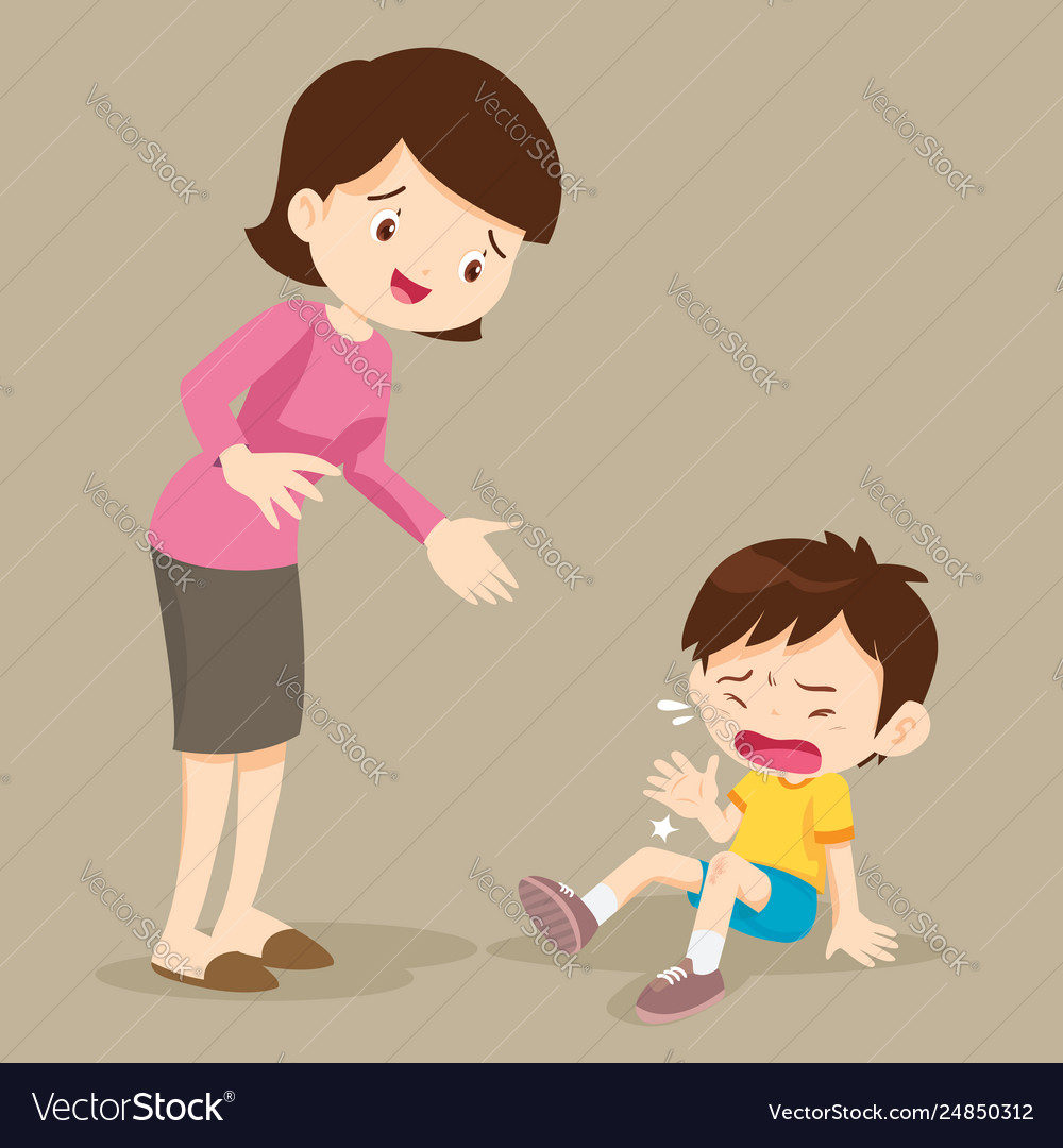 Crying Boy And Her Mom Royalty Free Vector Image