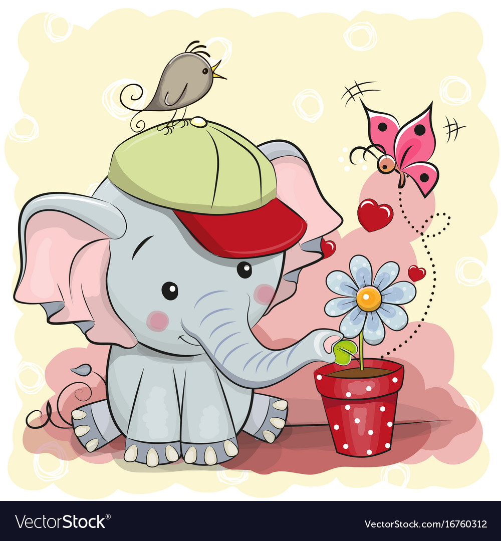 Cute cartoon elephant with flower