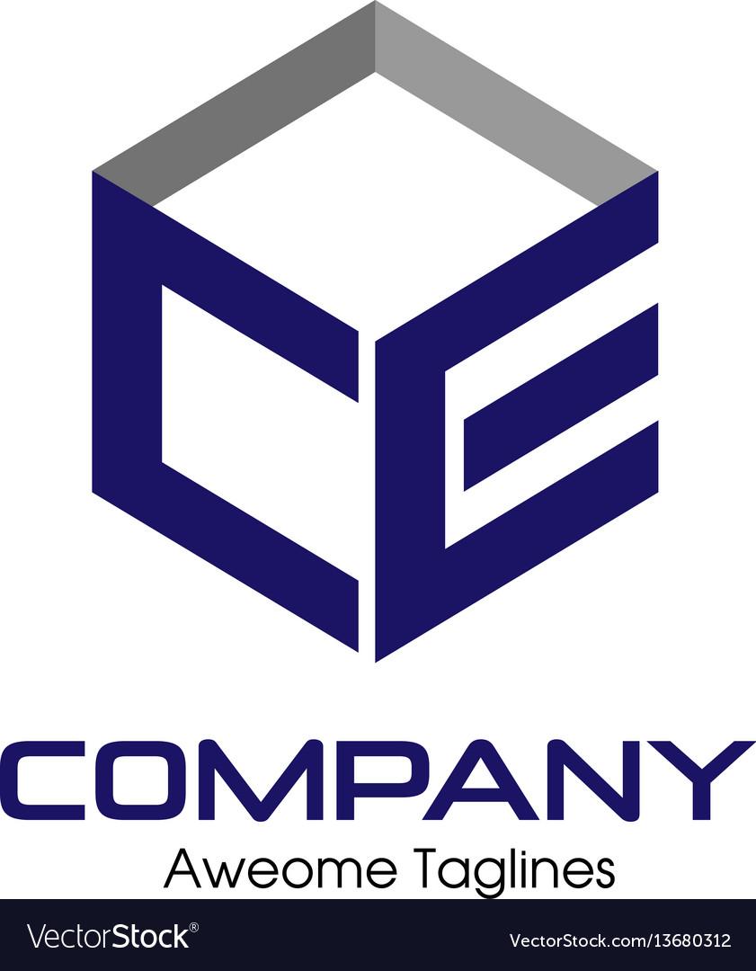 Letter ce box logo vector image