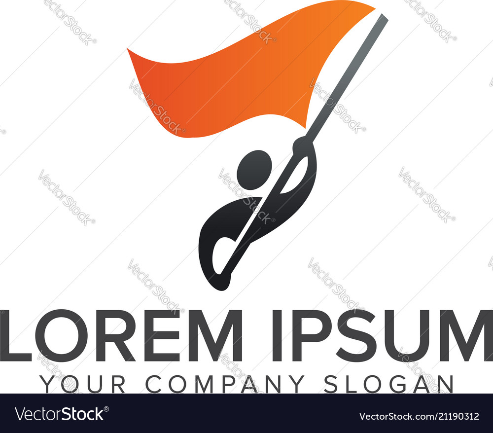 People with flag logosfreedom logo design concept