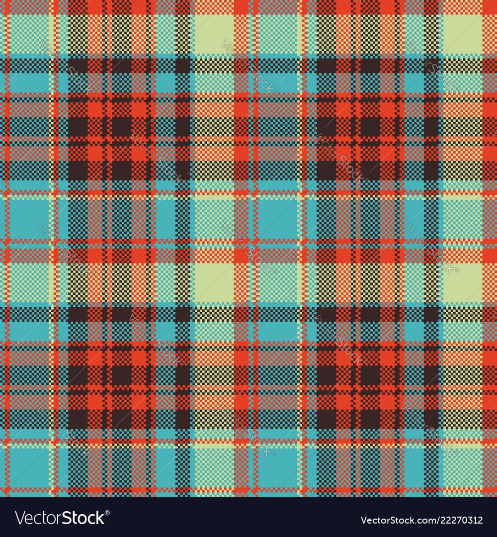 Pop art color check plaid pixel seamless fabric Vector Image 7336916a1