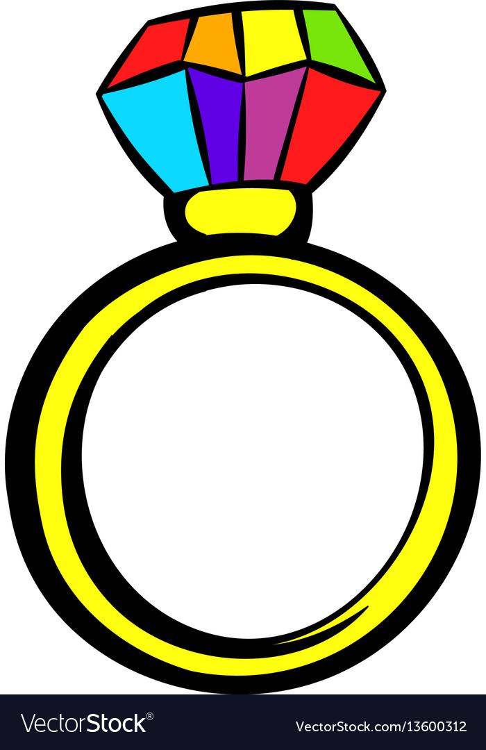 Ring with rainbow diamond icon icon cartoon