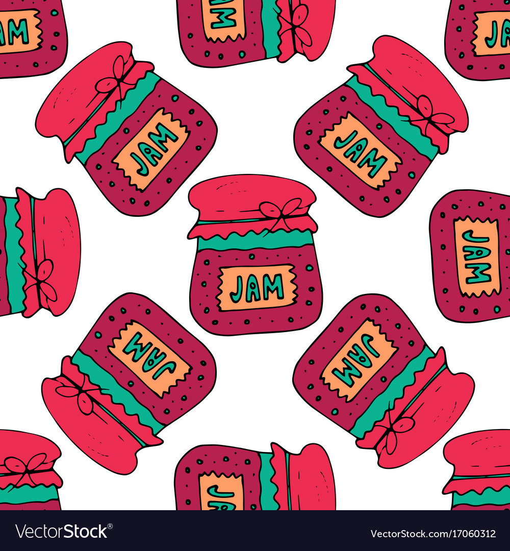 Seamless pattern with jam marmalade vector image