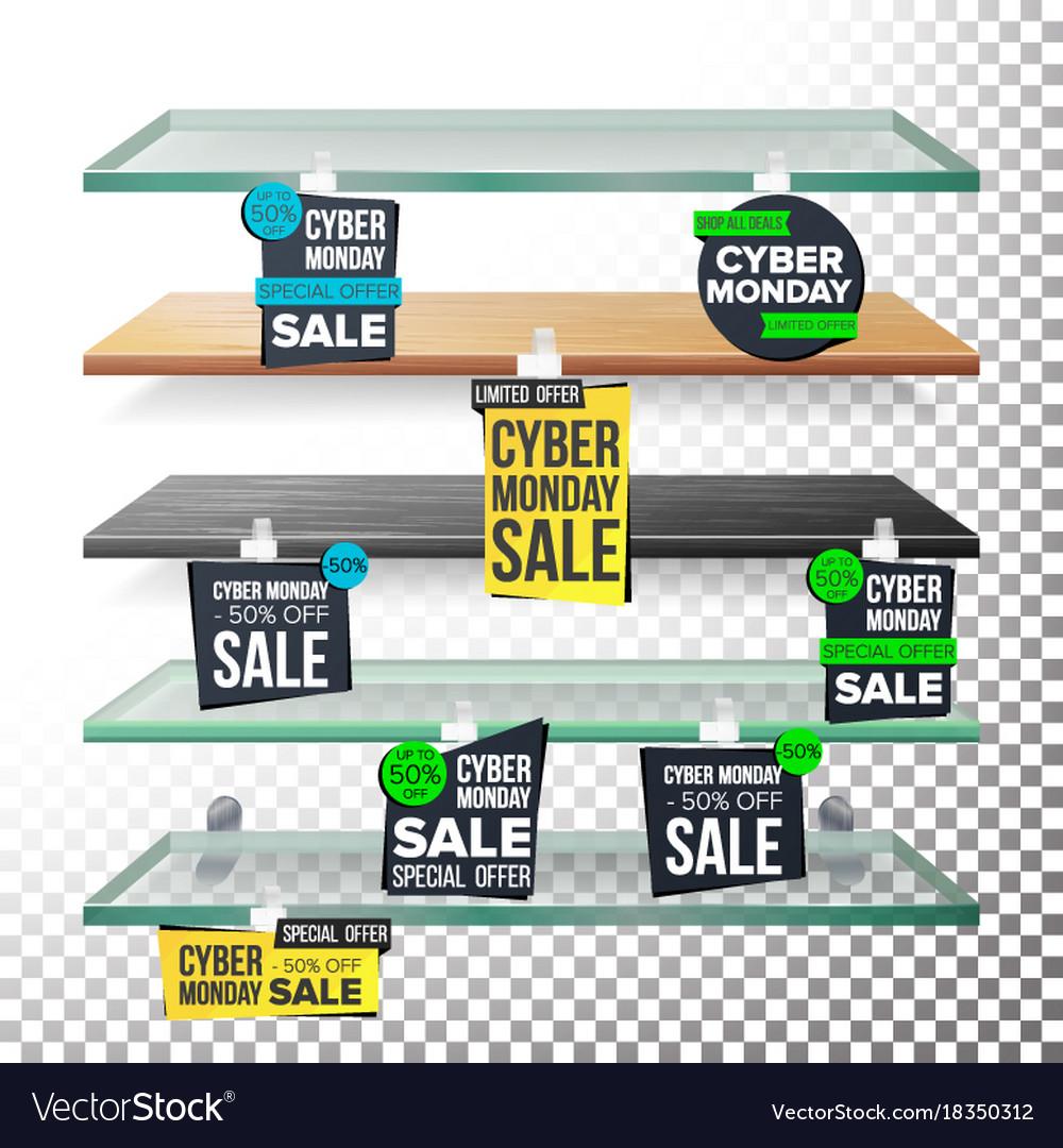 Supermarket shelves cyber monday sale advertising