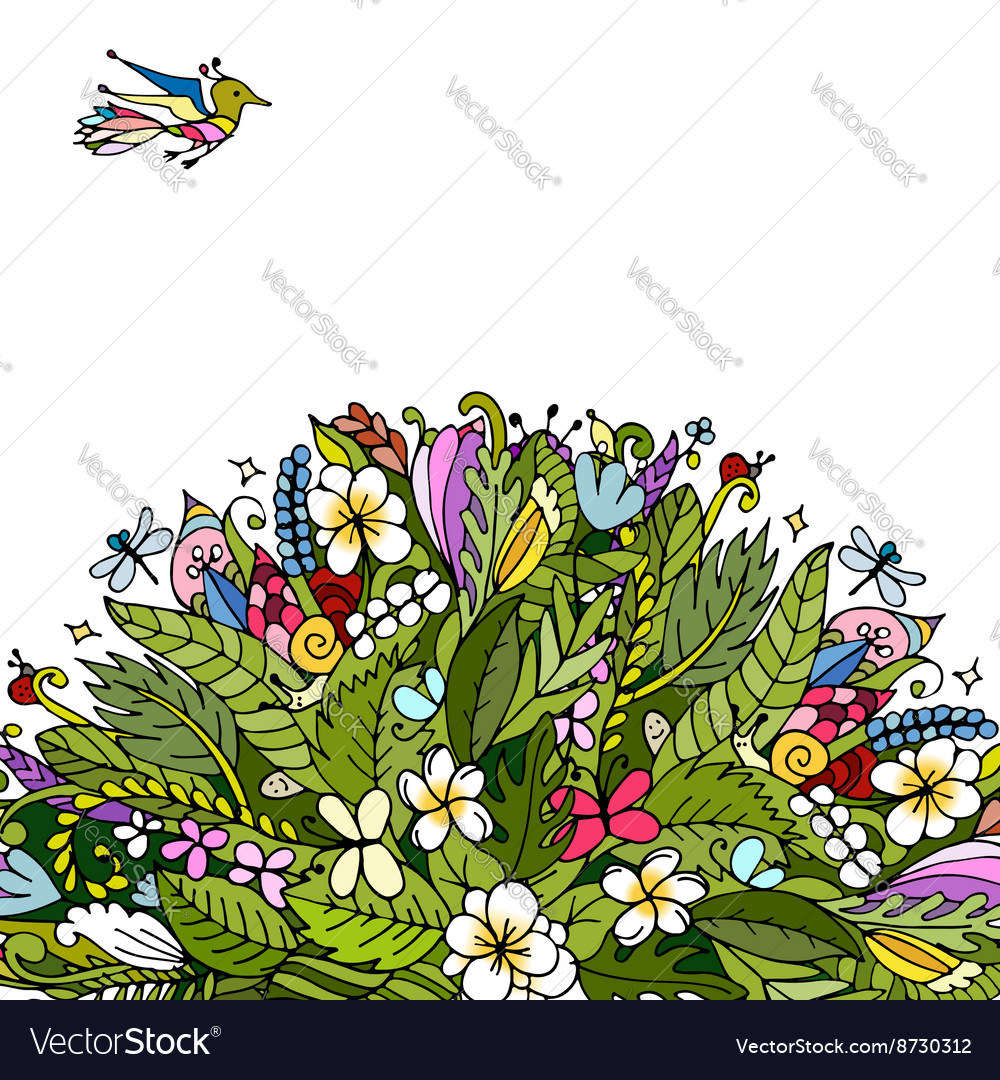 Tropical floral frame for your design vector image