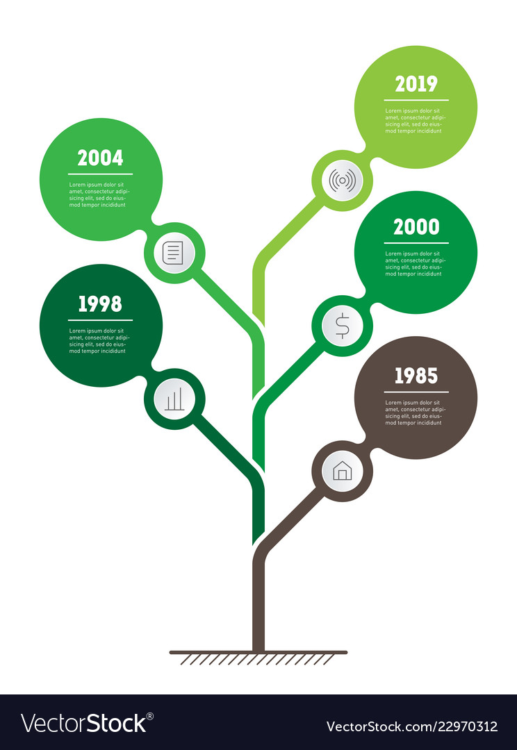 Vertical timeline infographics the tree of