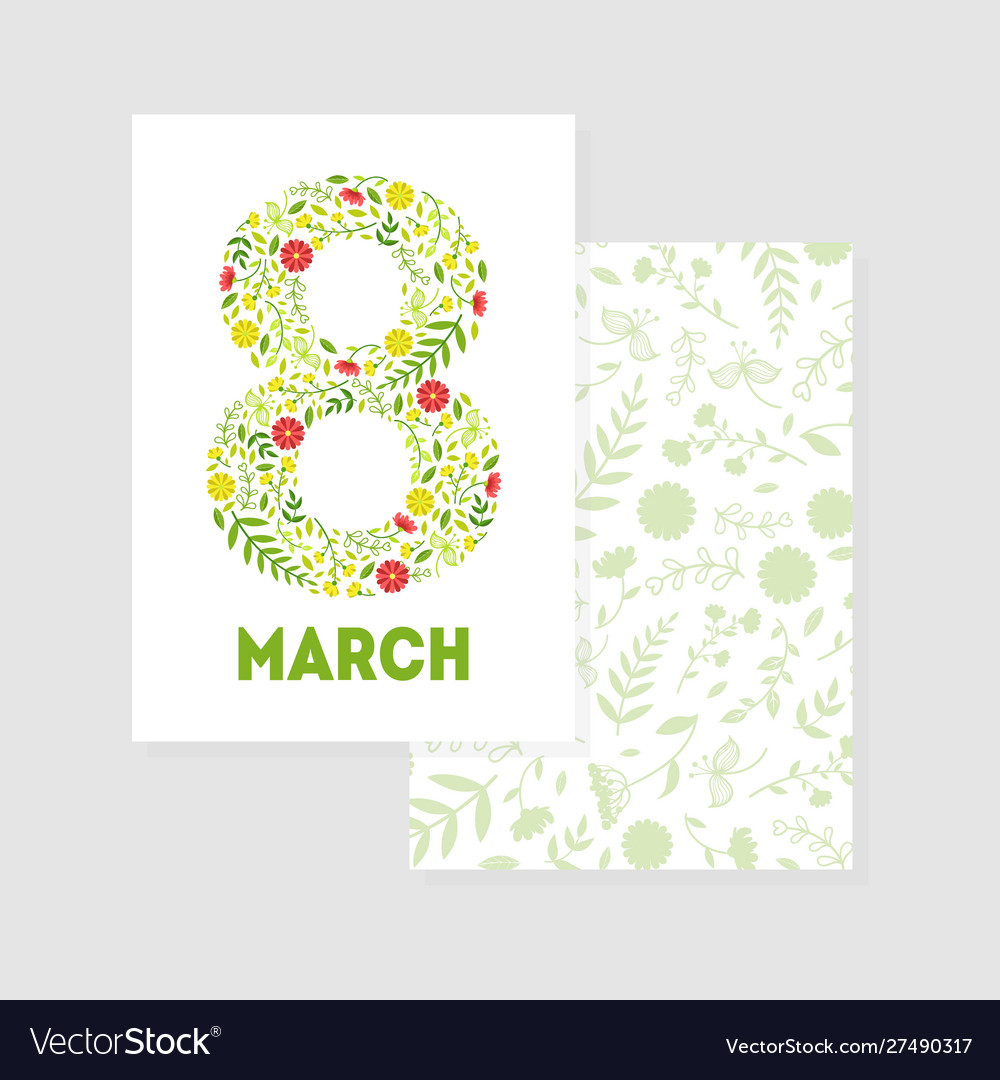 8 march greeting card template with floral pattern