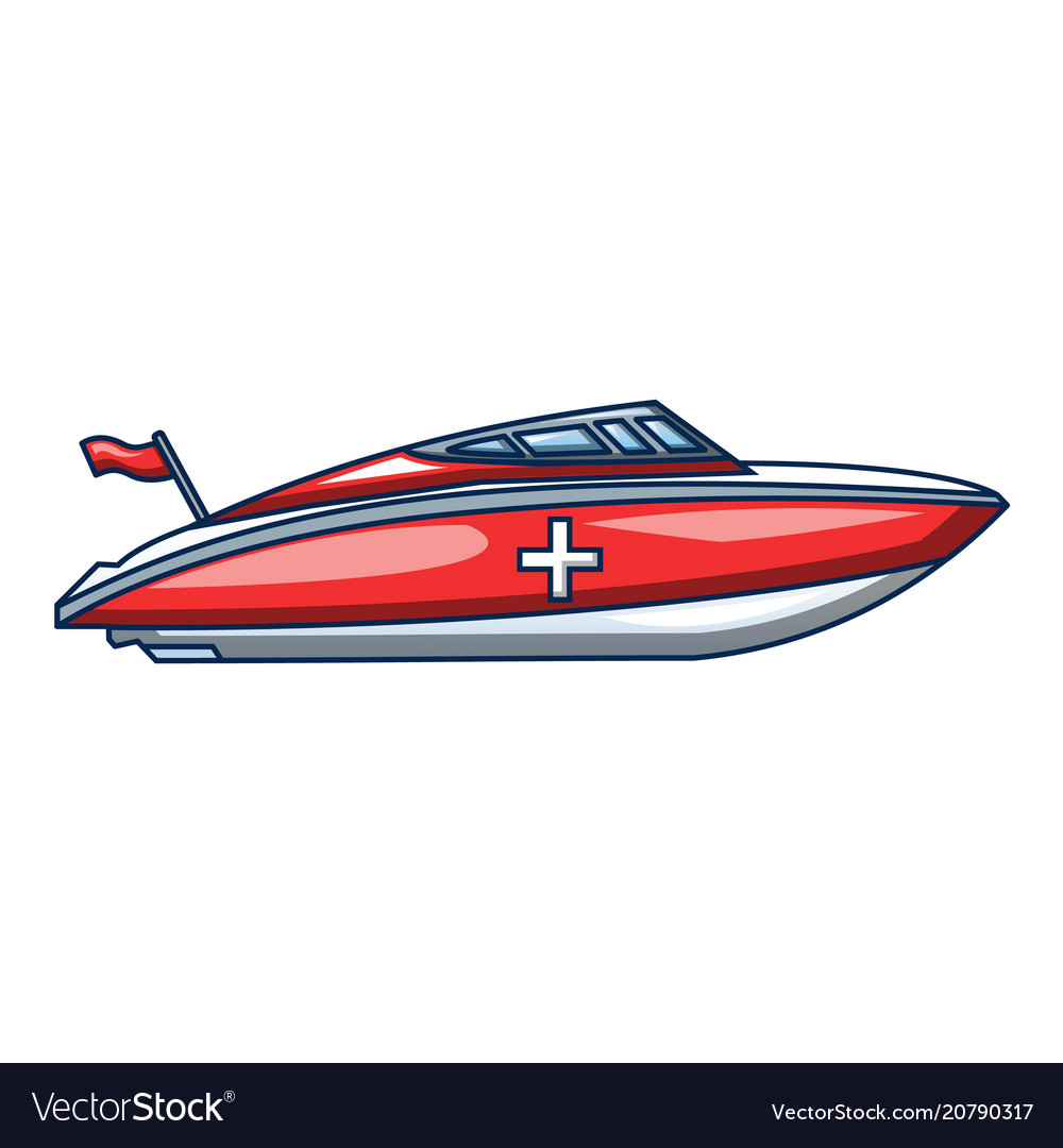 Ambulance boat icon cartoon style