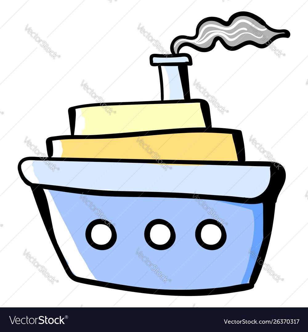Big ship on sea on white background