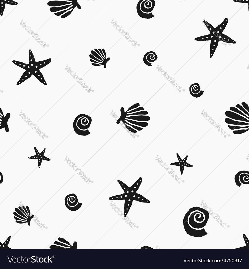 Black and white seashells vintage seamless pattern