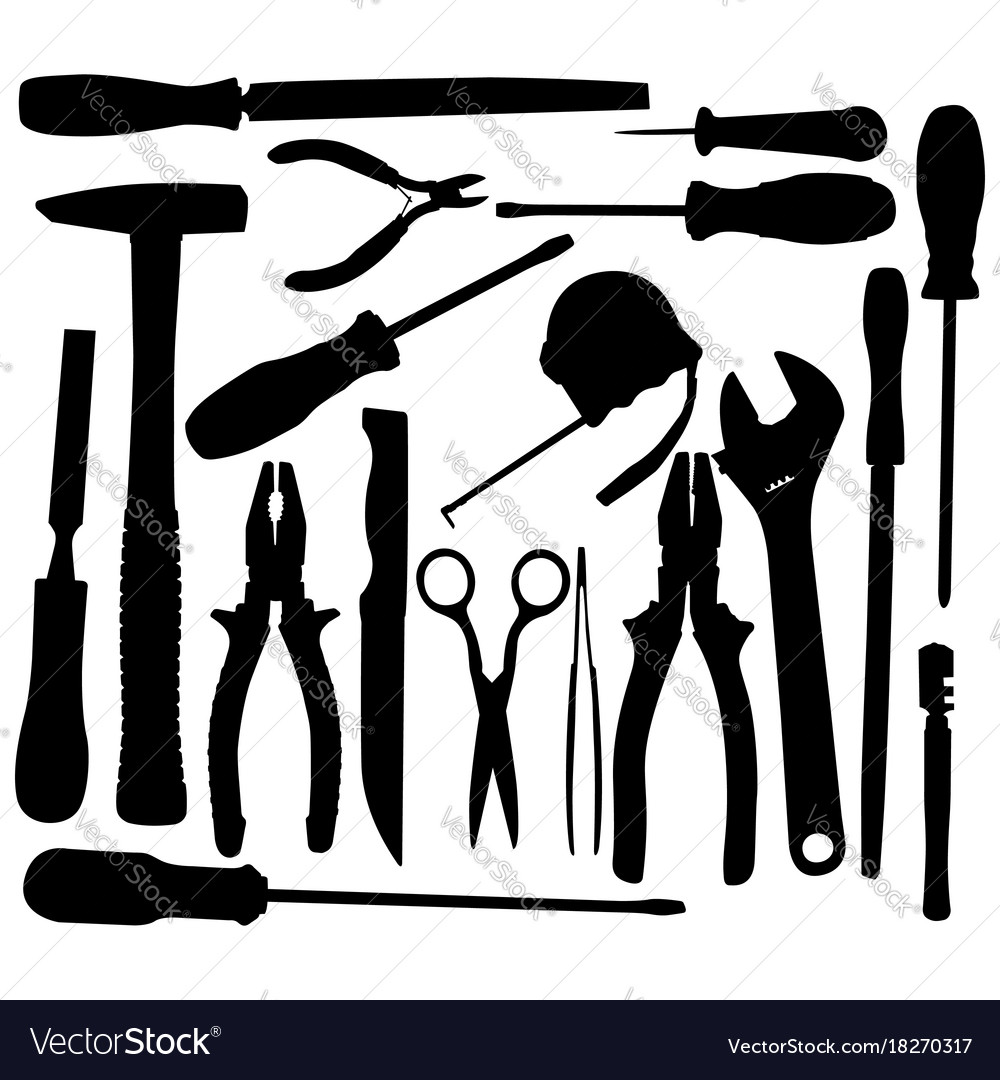 Black hand tool pictograms