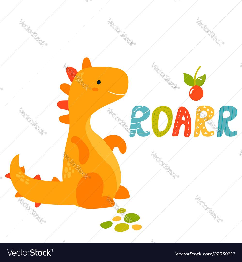 Cute yellow trex dino roarr greeting card