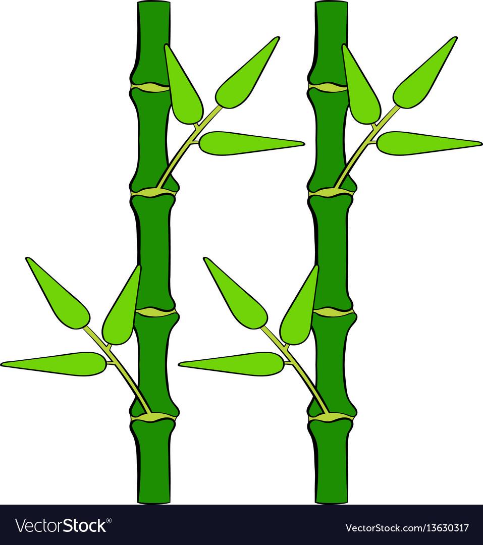Green bamboo stem icon cartoon