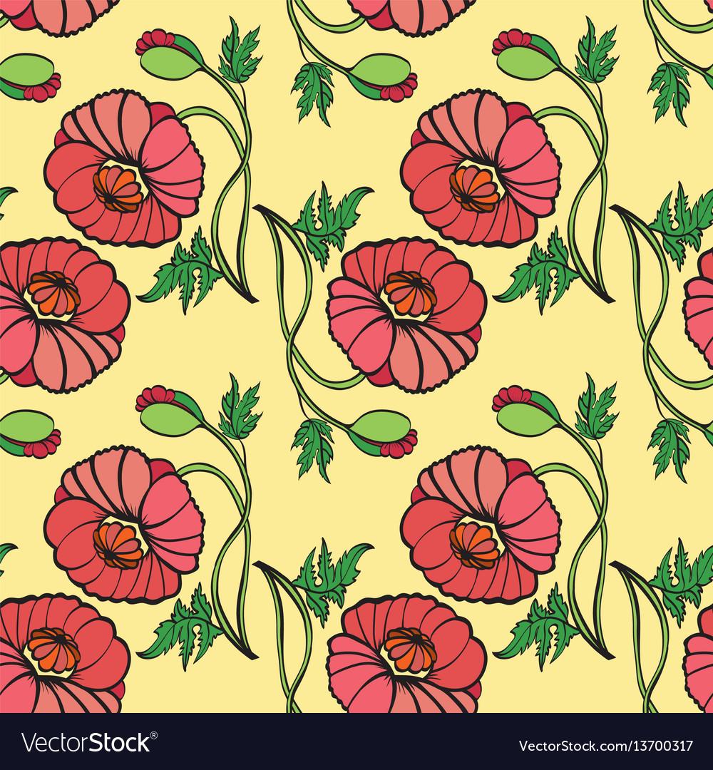 Hand drawn poppy flower
