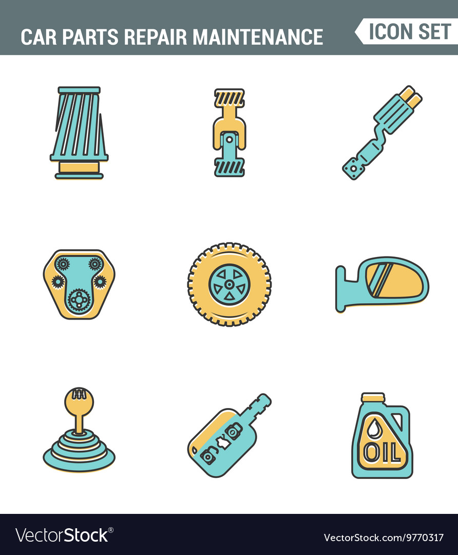 Icons line set premium quality of car parts repair vector image
