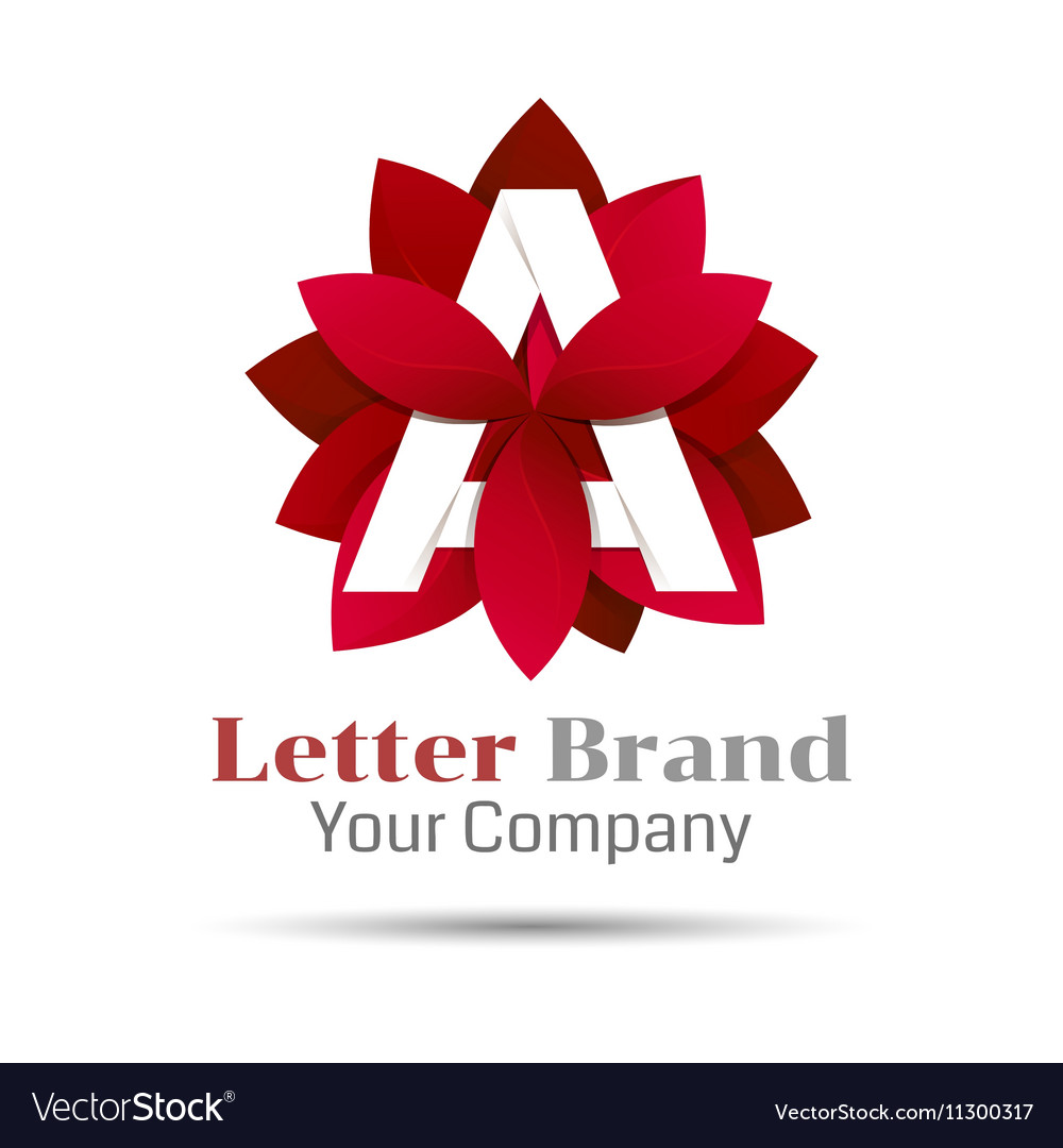 Letter a logo symbol red geometric logotype with