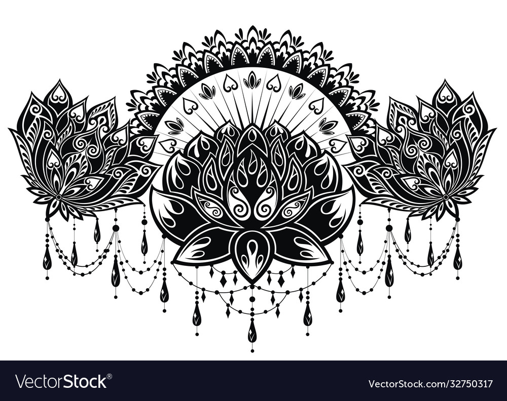 Lotus flower pattern for henna drawing and tattoo