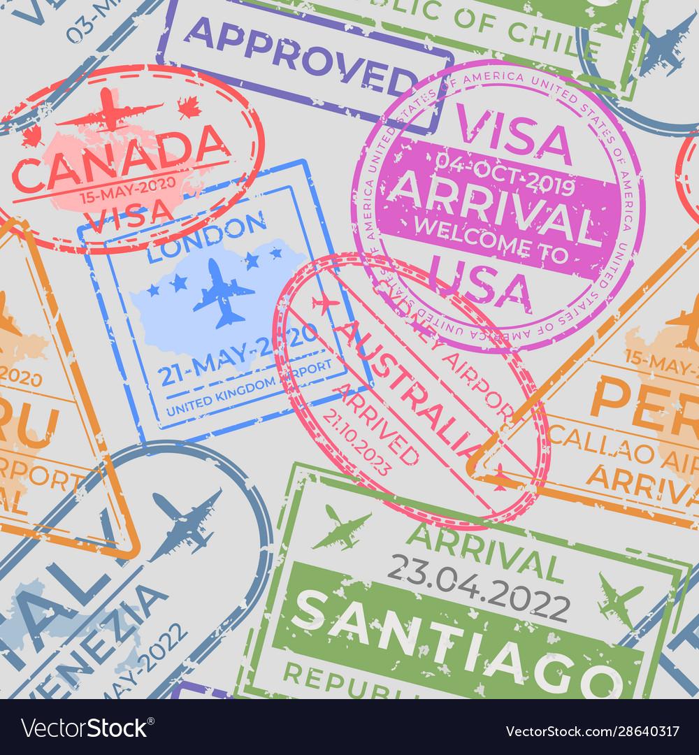 Passport stamps pattern seamless page