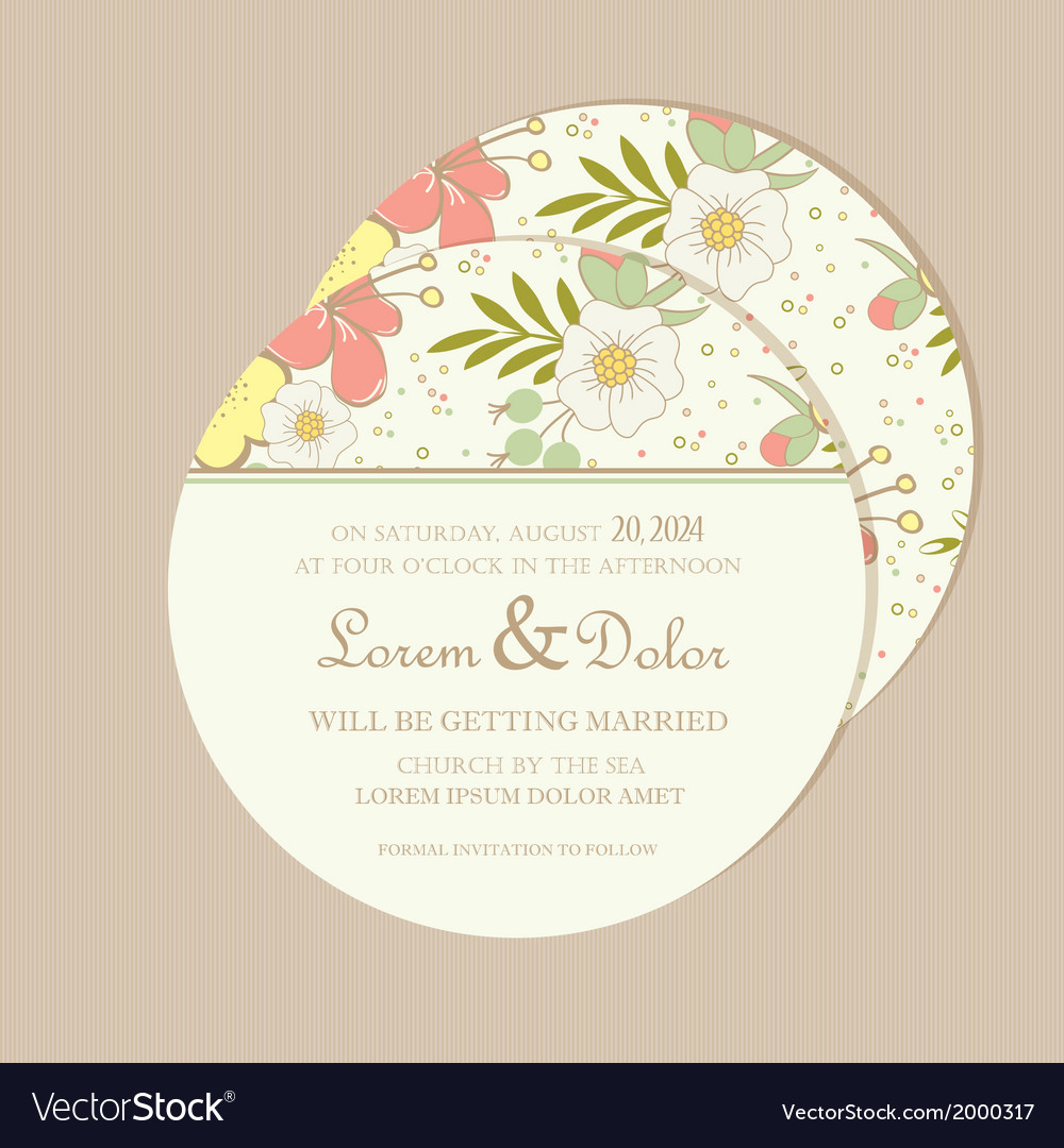 Round wedding invitation card Royalty Free Vector Image