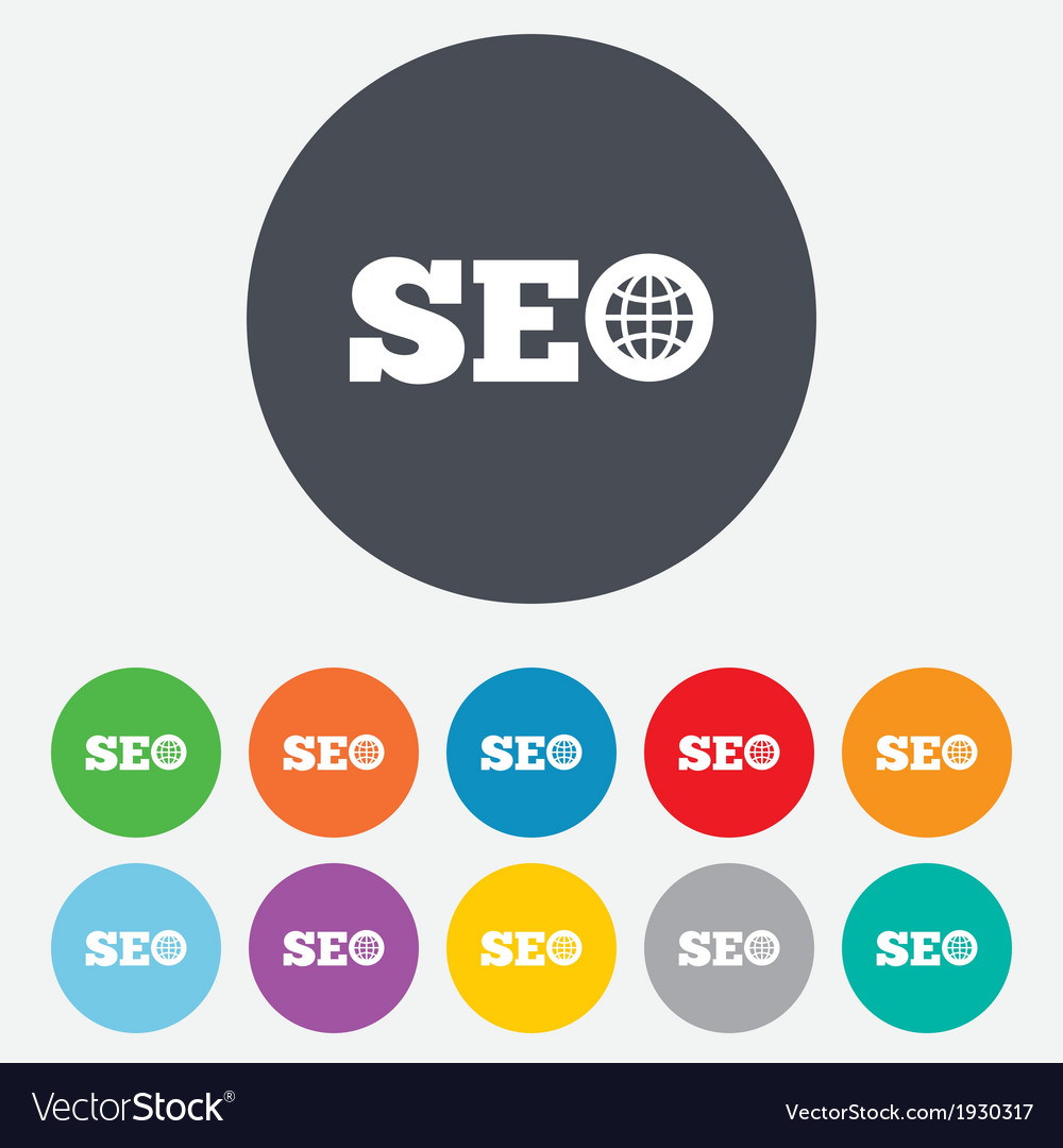 SEO sign icon Search Engine Optimization symbol vector image on VectorStock