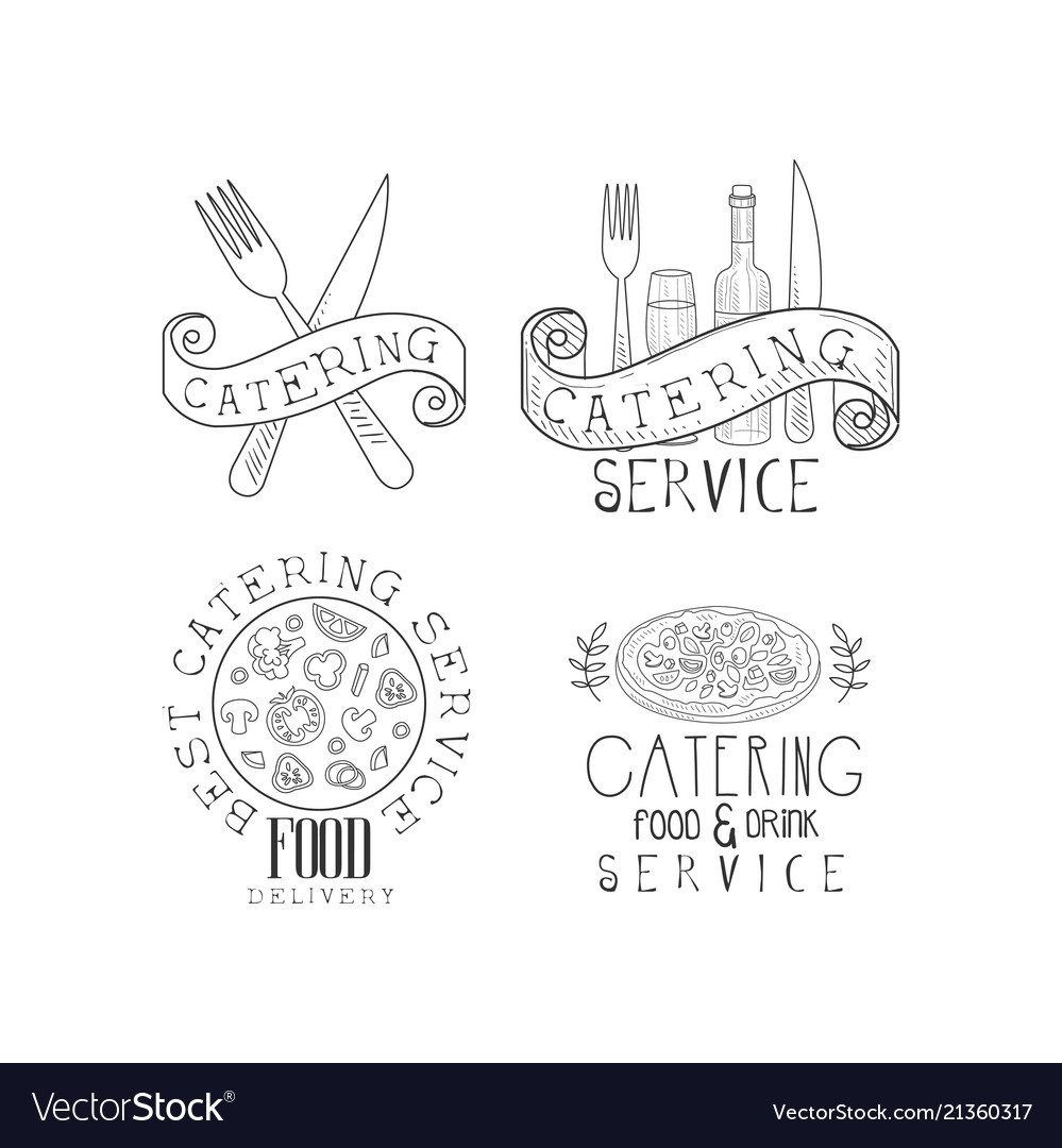 Set of 4 monochrome catering service emblems hand