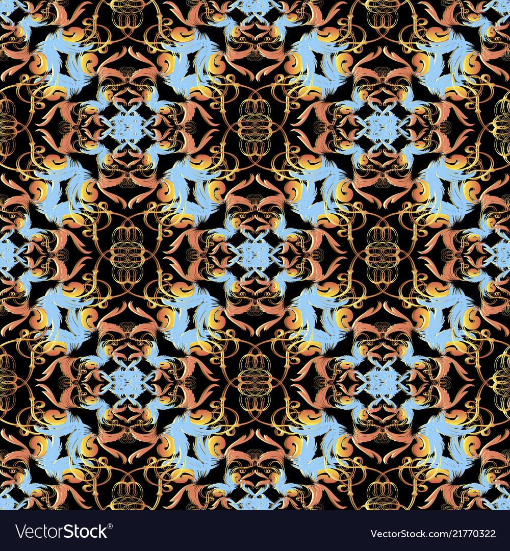 Baroque seamless pattern damask colorful